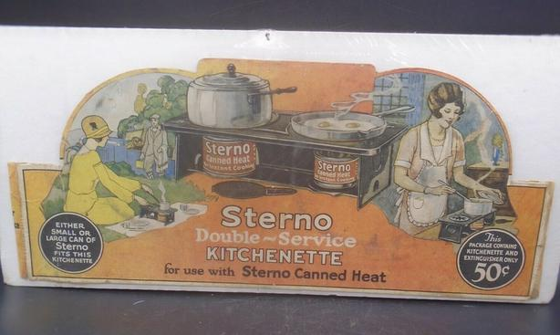 "VINTAGE 1920's STERNO CANNED HEAT 14 X 6.25"" INCH CARDBOARD SIGN"
