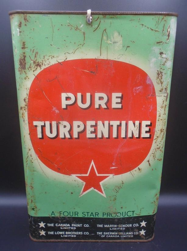 VINTAGE 1940's FOUR STAR PURE TURPENTINE IMPERIAL GALLON CAN