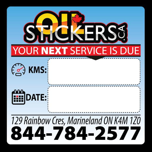 250 x Custom Oil Change Reminder Service Stickers Window Clings