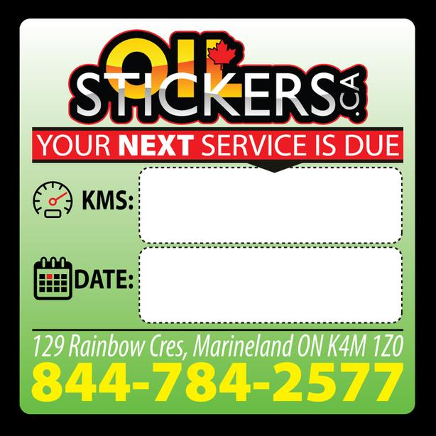 100 x Custom Oil Change Reminder Service Stickers Window Clings