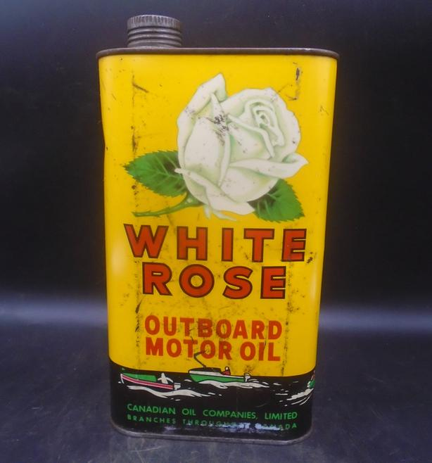 VINTAGE 1940's WHITE ROSE OUTBOARD MOTOR OIL IMPERIAL QUART CAN