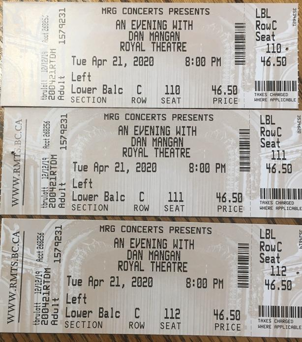 3 Dan Mangan concert tickets  - April 21. $110 obo