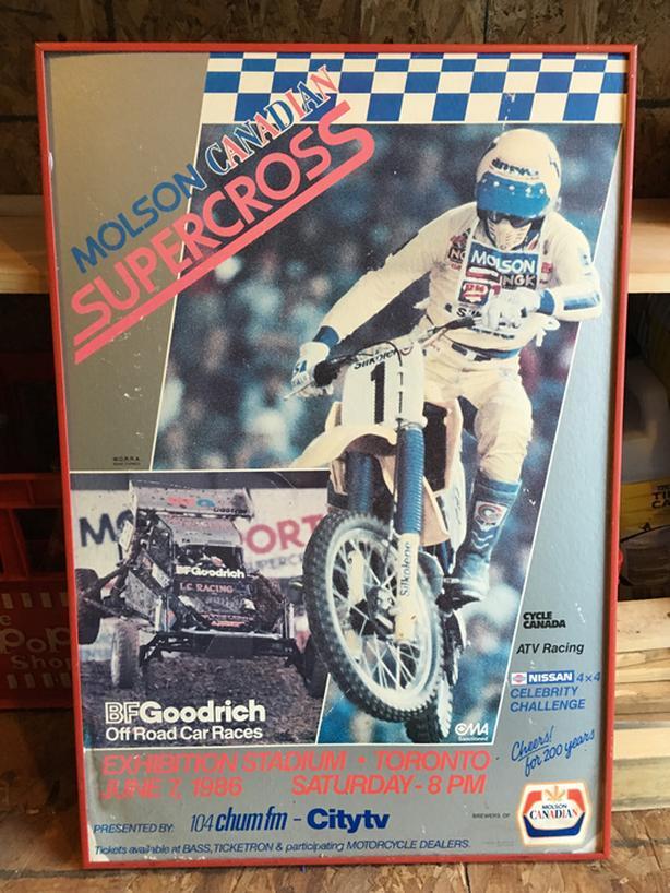 VINTAGE 1986 DIRT BIKES MOTORCYCLES CARDBOARD POSTER