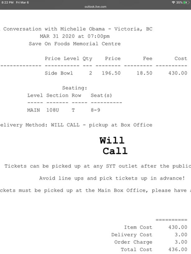 Michelle Obama tickets- selling at face value