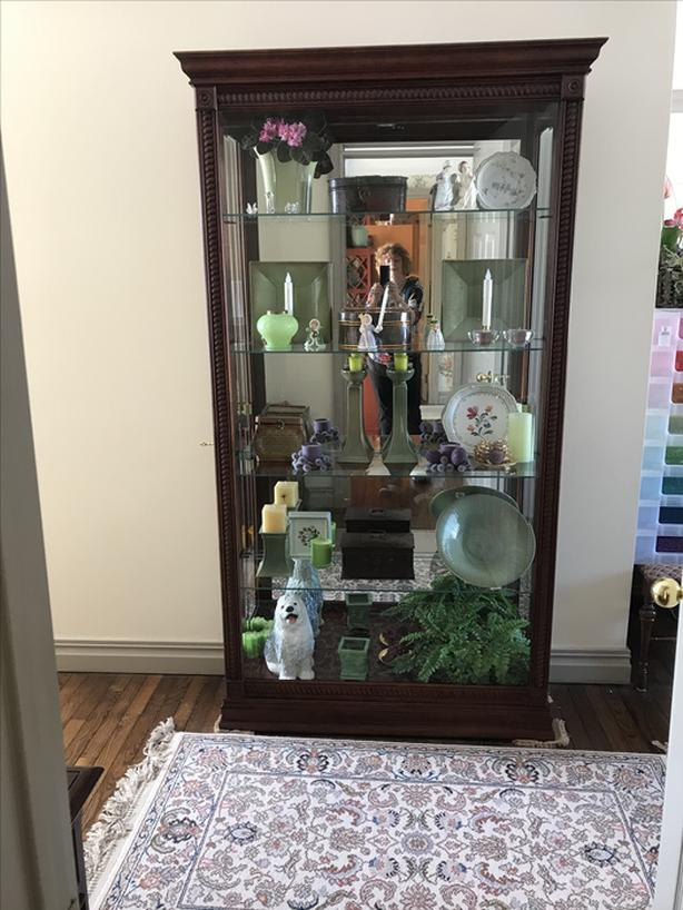Glass curio cabinet with light