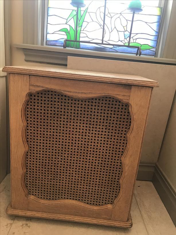 Vintage oak laundry hamper