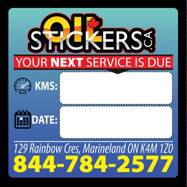 2000 x Custom Oil Change Reminder Service Stickers Window Clings