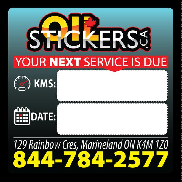 5000 x Custom Oil Change Reminder Service Stickers Window Clings