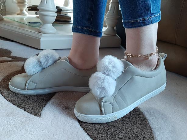 Yoki sneakers with pom-poms - beige/grey