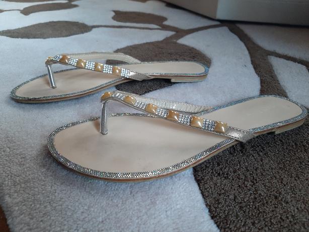 Women Sparkling flat sandal - beige