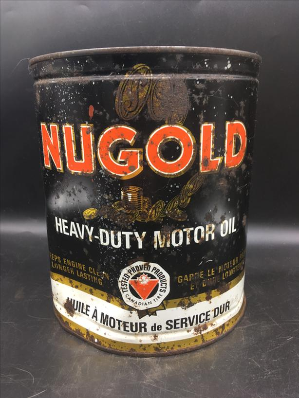 VINTAGE 1940s CANADIAN TIRE NUGOLD MOTOR OIL IMPERIAL GALLON CAN