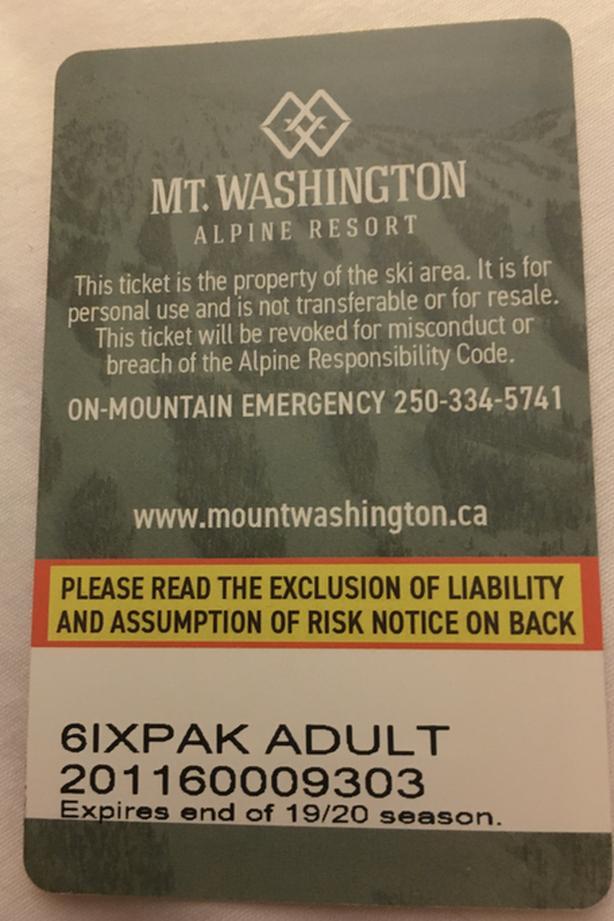 Mount Washington adult alpine lift pass