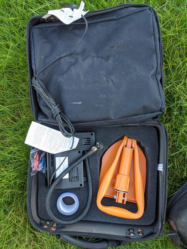 Road Side Emergency Mobile Safety Kit (Tire Inflators, Jumper Cables, First Aid)