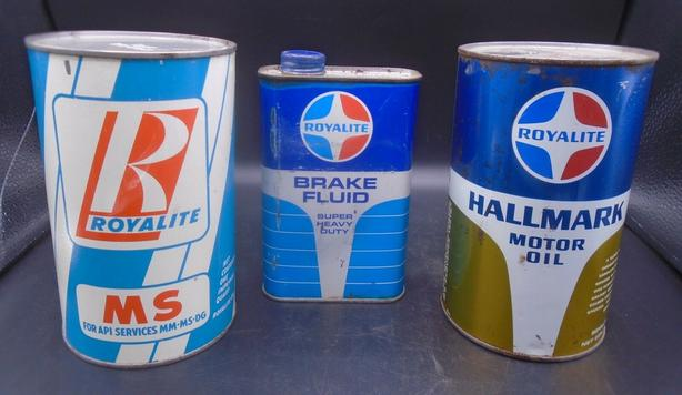 VINTAGE 1950's ROYALITE MOTOR OIL IMPERIAL QUART CANS (X 3)