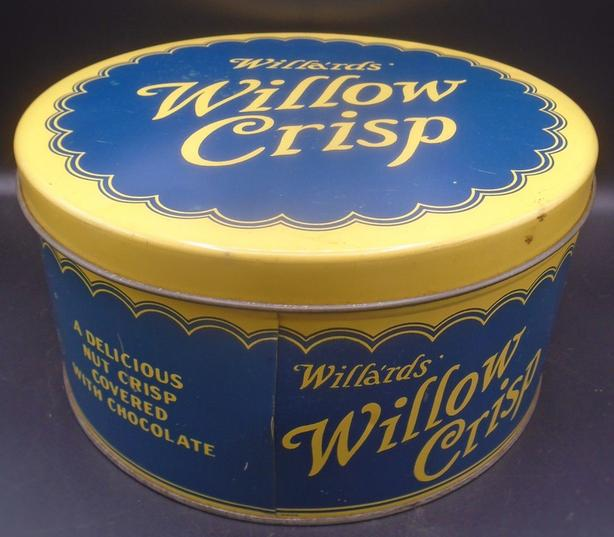 VINTAGE 1930's WILLA'RDS' WILLOW CRISP CHOCOLATES (10 LB.) TIN