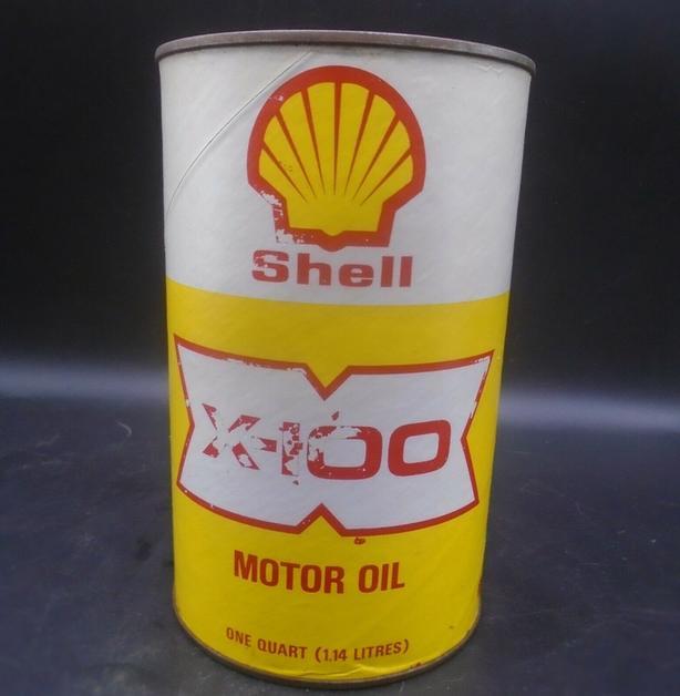 VINTAGE 1970's SHELL X-100 MOTOR OIL IMPERIAL QUART FIBRE CAN