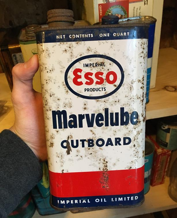 VINTAGE ESSO MARVELUBE OUTBOARD MOTOR OIL IMPERIAL QUART CAN