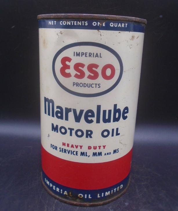 VINTAGE 1950's ESSO MARVELUBE HD MOTOR OIL IMPERIAL QUART CAN