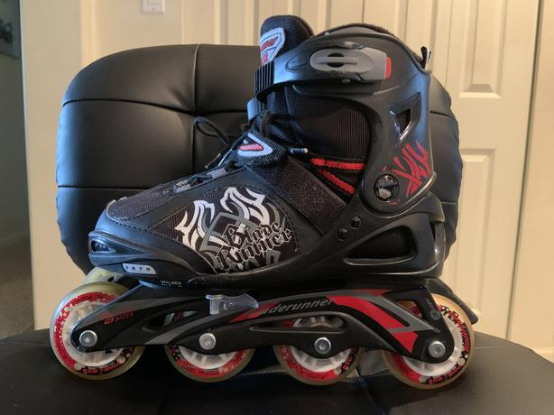 Youth Bladerunner Phaser xr rollerblades, size 5-8, with kneepads