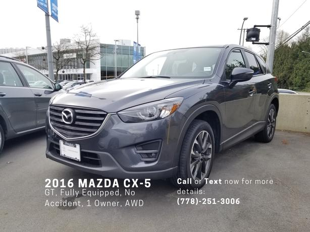 2016 MAZDA CX-5 GT AWD - NO ACCIDENT, FULLY LOADED, NO PAYMENT 90 DAYS