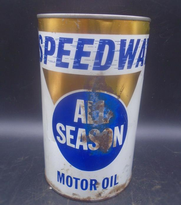 RARE 1960's VINTAGE SPEEDWAY MOTOR OIL IMPERIAL QUART CAN
