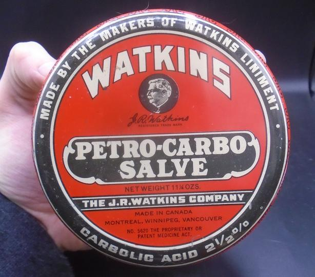 VINTAGE 1940's WATKINS PETRO-CARBO SALVE (11.25 OZ.) TIN
