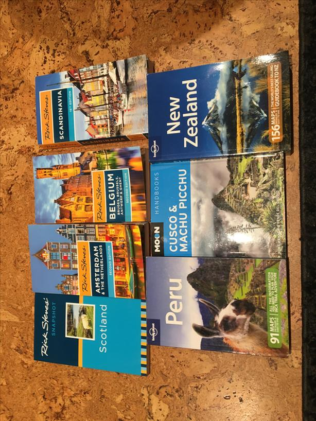 Assortment of Rick Steves' and Lonely Planet Books