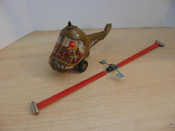 Antique 1940's T.N. Hiller Hornet Army Jet Helicopter Tin Friction