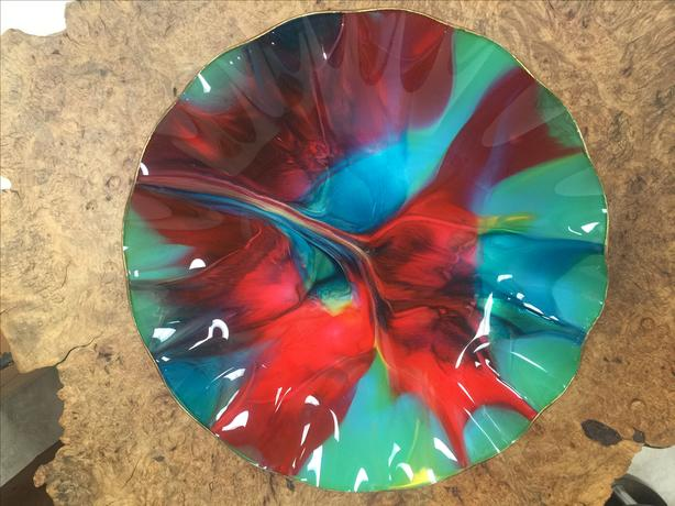 Vintage Coloured Art Glass Platter
