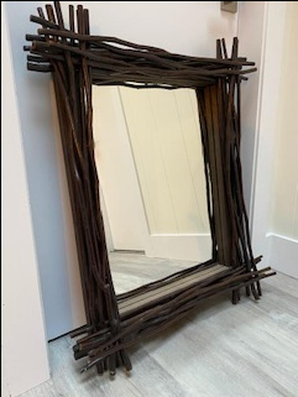 2 Teak Wood Framed Wall Mirrors With Teak Twig Accent