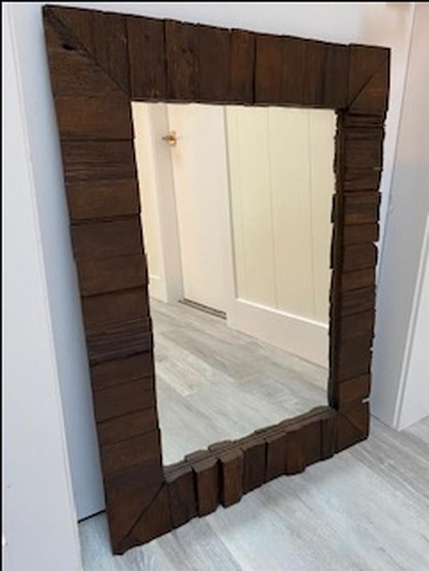 2 Rectangular Exotic Wood Wall Mirrors