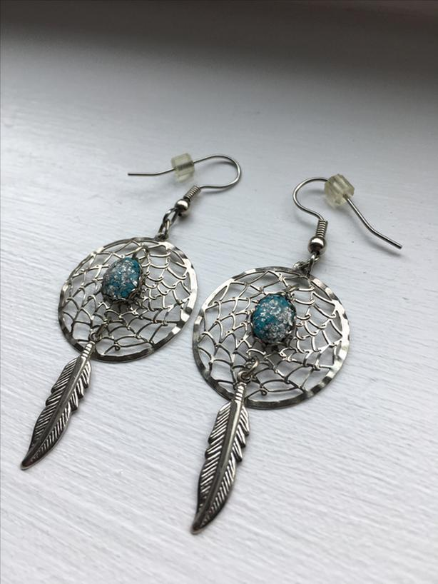TURQUOISE STERLING SILVER DREAM CATCHER, FEATHER EARRINGS