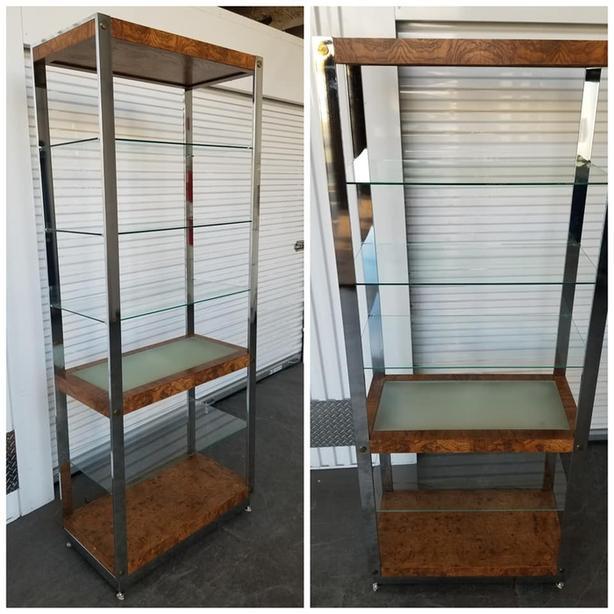 1 large chrome/glass 6 tier shelf with internal mid shelf light