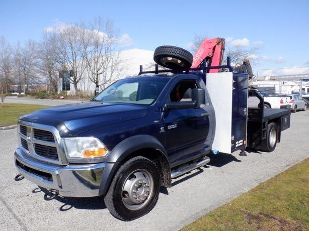 2012 Dodge Ram 5500 Regular Cab 4WD Flat Deck 8 foot Crane Truck Diesel