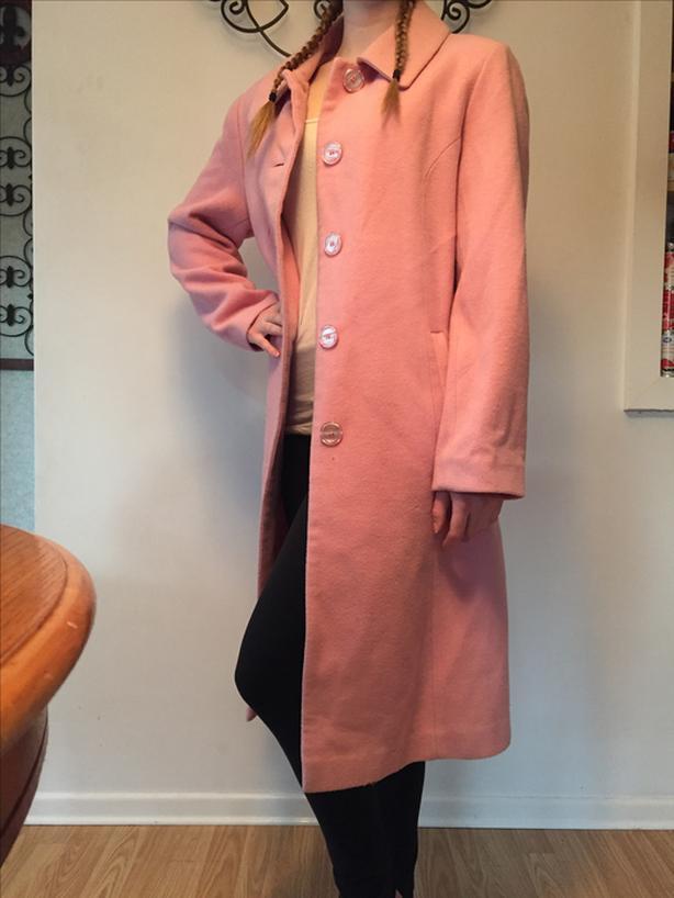 pink wool cashmere coat Womens Medium
