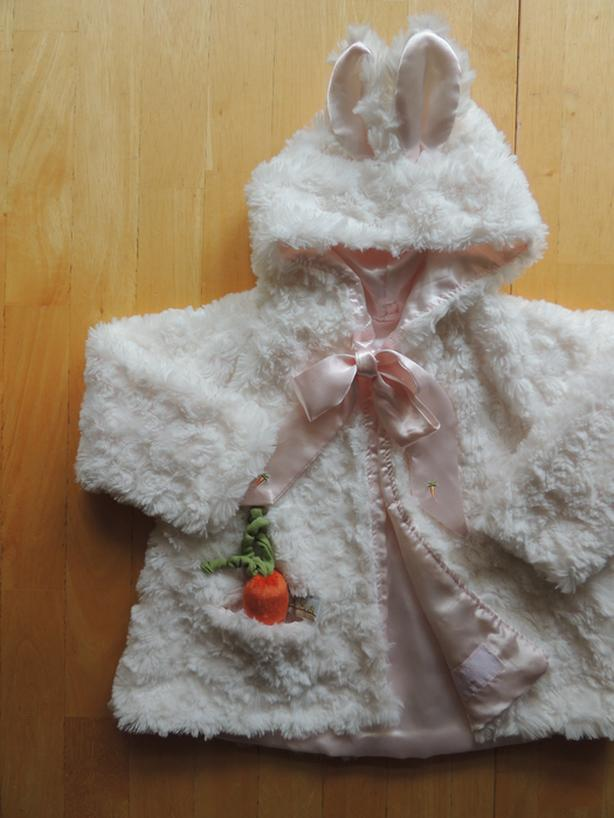 NEW, Bunnies By The Bay Cuddle Coat with bunny ears, size 3-6 mths.