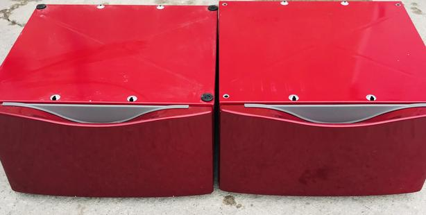 Two Red Maytag Pedestals