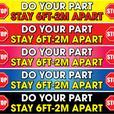 5 x Line Markers Slip Resistant Social Distancing Floor Stickers