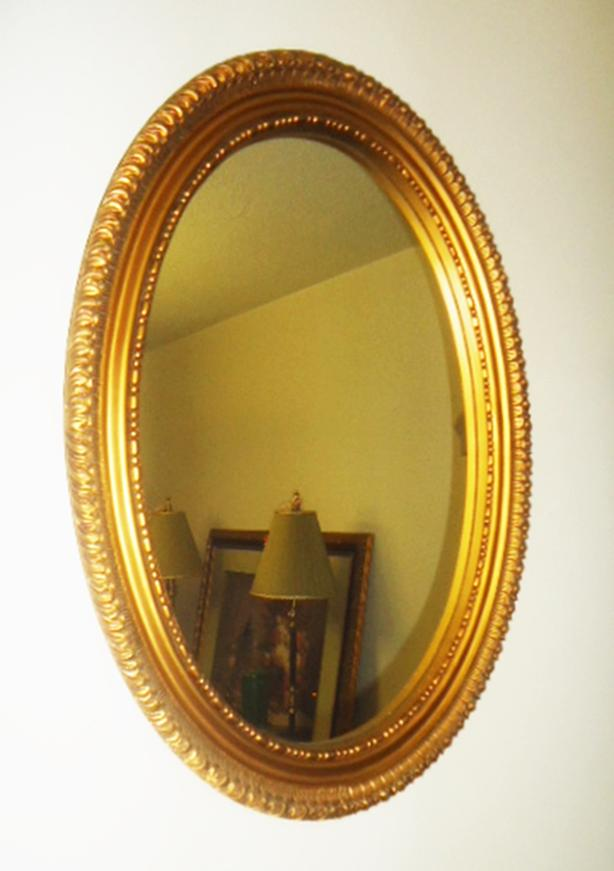 Large Vintage Gold Oval Ornate Wall Mirror - Wide Frame
