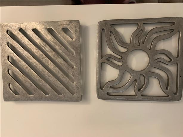 *** TWO METAL TRIVETS - HOT PLATE PROTECTORS - STAINLESS STEEL ***