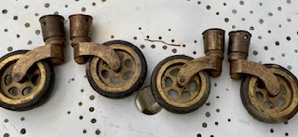 4 Antique Brass Castors