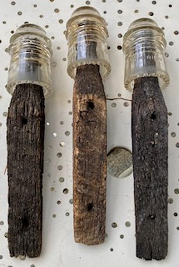 2 Sets of Antique Glass Insulator/Wood Brackets