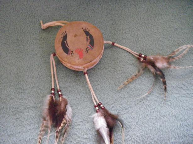 Anasazi Miniature Hand-Painted Leather Drum
