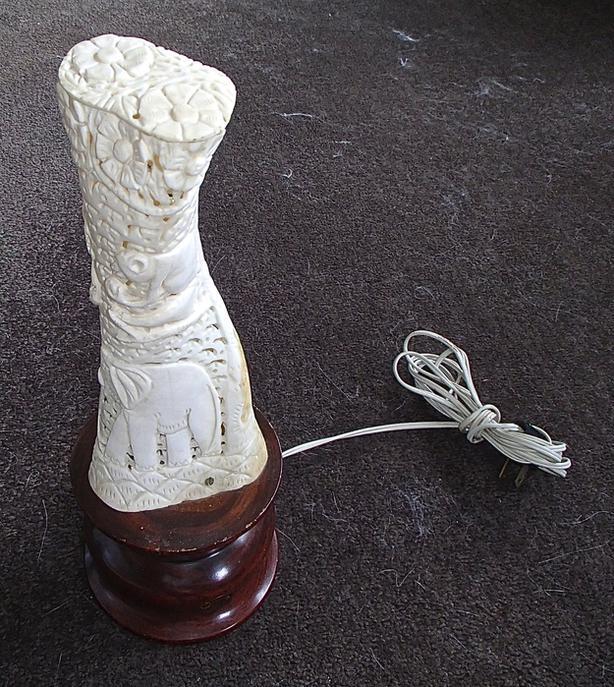 Carved Elephant/Monkey Lamp