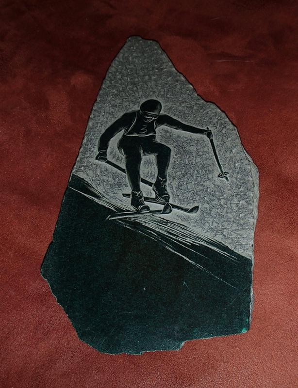 "Hand-Drawn Slate Etching: ""Ski Racer"""