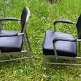 2 Mid Century Modern Black Vinyl/Grey Metal Side Chairs