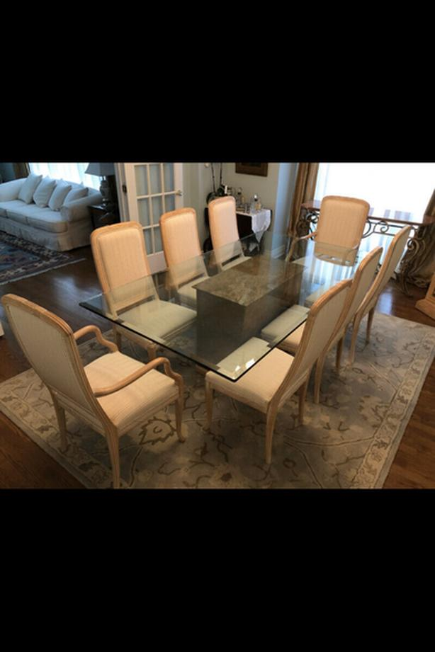Dining table with Glass on marble base + 8 italian made chairs