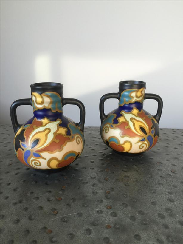 Pair of 1920's Art Nouveau 'Gouda' Vases