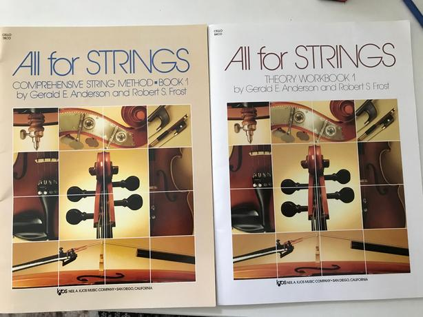 "Beginner Cello books ""All for Strings"""