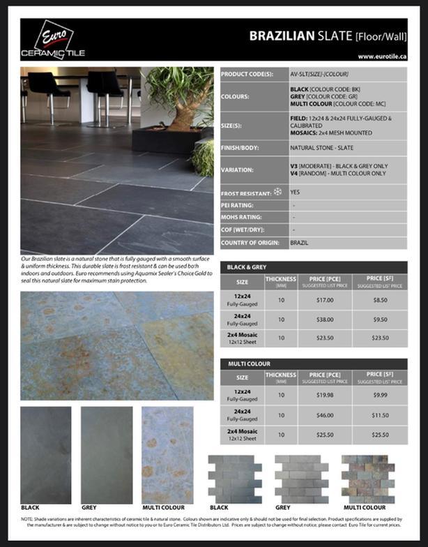 160sq' Grey Brazilian Slate - Euro Tile